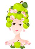 Apple lady. The woman with a hairdress from apples Royalty Free Stock Photography