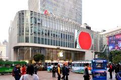 Apple lager på Nanjing den östliga vägen i Shanghai arkivfoto