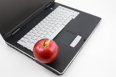 Apple on the laptop royalty free stock photography