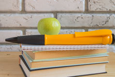 Apple large souvenir pen on books and notebooks, concept study Stock Photography