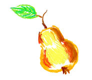 Apple with leaf drawing isolated Royalty Free Stock Photography