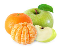 Apple with leaf and tangerine fruits, peeled segments isolated Stock Images