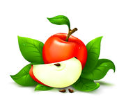 Apple with leafs. Apple red with cut and leafs vector illustration isolated over white background Stock Photos