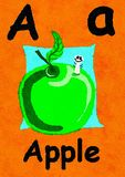 A is for Apple. Learn the alphabet and spelling. A is for Apple. Watercolour cartoon painting of an apple and worm. Letter A, ABC kids wall art. Alphabet royalty free illustration