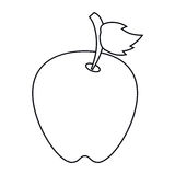 Apple leave fruit outline Royalty Free Stock Image
