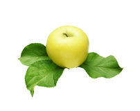 Apple with leaves Stock Photo