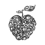 An apple with leaves is drawn with a black line from an ornament. Symbol. Fruit. Proper nutrition. Healthy food royalty free illustration