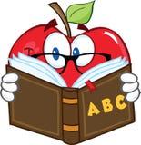 Apple-Lehrer Character Reading ein Buch Stockfotografie