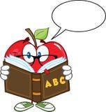 Apple-Lehrer Character Reading ein Buch mit Sprache-Blase Lizenzfreie Stockfotos