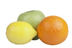 Apple, Lemon and Orange Stock Images