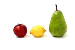 Apple, lemon, pear. In the form of traffic lights Stock Image