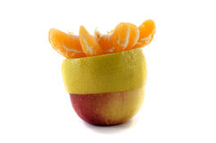 Apple lemon and tangerine slices. Isolated on a white background Royalty Free Stock Images