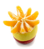 Apple lemon and tangerine slices. Isolated on a white background Royalty Free Stock Photo