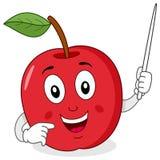 Apple-Leraar Character met Wijzer Stock Foto