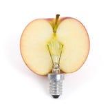 Apple lightbulb, concept of green energy Stock Image