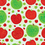 Apple line doodle seamless pattern Royalty Free Stock Photo