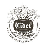 The Apple logo of an alcoholic beverage in a barrel. Illustration Stock Images
