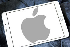 Apple logo. Apple company logo and vector on samsung tablet Stock Photos