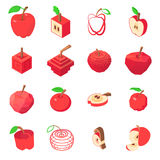 Apple logo icons set, isometric style. Apple logo icons set. Isometric illustration of 16 apple logo vector icons for web Royalty Free Stock Images