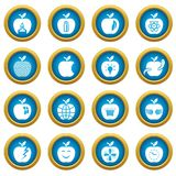 Apple logo icons set, simple style. Apple logo icons set. Simple illustration of 16 apple logo vector icons for web Royalty Free Stock Photography