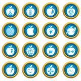 Apple logo icons set, simple style. Apple logo icons set. Simple illustration of 16 apple logo vector icons for web Stock Illustration