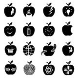 Apple logo icons set, simple style. Apple logo icons set. Simple illustration of 16 apple logo vector icons for web Stock Photo