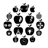 Apple logo icons set, simple style. Apple logo icons set. Simple illustration of 16 apple logo vector icons for web Royalty Free Stock Photos