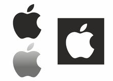 Apple logo. Apple. Inc logo in illuminated white on black background. EPS format traced from photo