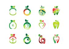 Apple logo, ny frukt, design för vektor för symbol för symbol för uppsättning för natur för fruktnäring vård- Royaltyfri Bild
