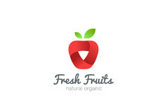 Apple Logo ribbon vector. Fresh fruit idea juice  Stock Photography