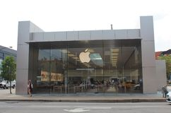 Apple Logo on Apple Lincoln Park Store, Chicago. The Apple logo is seen on the facade of the Apple Lincoln Park Store in Chicago, Illinois Stock Image