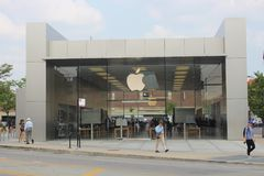 Apple Logo on Apple Lincoln Park Store, Chicago. The Apple logo is seen on the facade of the Apple Lincoln Park Store in Chicago, Illinois Stock Images