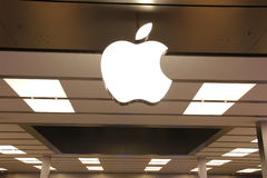 Apple Logo. At Store in Bellevue Mall Square Royalty Free Stock Image