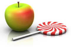 Apple and lollipop Stock Image