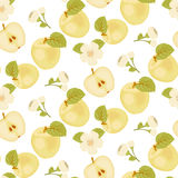 Apple mûr Tissu sans joint lame verte Fleur d'Apple Pomme jaune Moitié de la pomme illustration de vecteur