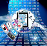 Apple Mac iCloud data apps. Apple Mac iCloud computer data organisation is so much more than a hard drive in the sky. It makes it quick and effortless to access Royalty Free Illustration