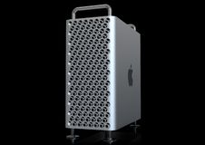 Apple Mac Pro 2019 professional desktop computer system, aluminum tower. June 3, 2019 - the San Jose Convention Center, California, USA: Apple Special Event royalty free stock images