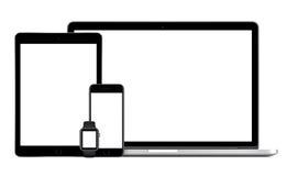 Apple MacBook Pro med klockan för iPhone 6S Apple för utrymmegrå färgiPad den pro- Royaltyfria Foton