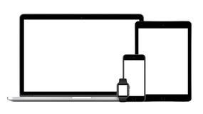 Apple MacBook Pro mit Raum graues iPad Pro-iPhone 6S Apple Uhr Stockbild