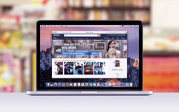 Apple MacBook Pro Retina with an open tab in Safari browser which shows Amazon web page royalty free stock images