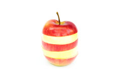 Apple made of different slices. Isolated Stock Photography