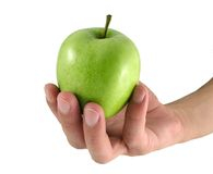 Apple in male hand. Green apple in male hand Stock Photo