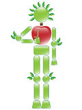 Apple Man. Illustration of apple conservation character with worm Royalty Free Stock Image