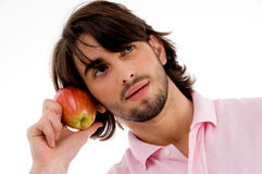 apple man showing Στοκ Εικόνες