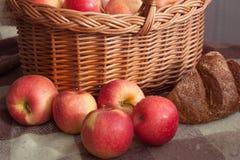 Apple-mand oogst royalty-vrije stock afbeelding