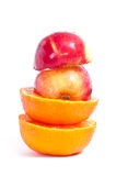 Apple and mandarin Stock Photo