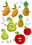 Apple, mango, pineapple and pear fruits characters. Juicy fresh apple, mango, pineapple and pear fruits cartoon characters with sappy green leaves, isolated on Stock Photography