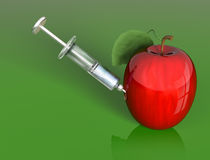 Apple manipulation. Stylized illustration of an apple being injected with a mysterious liquid vector illustration