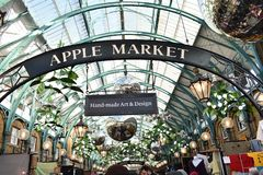 Covent Garden. Apple Market at Covent Garden with Christmas decoration Royalty Free Stock Photo