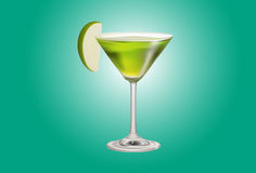 Apple Martini on green background Royalty Free Stock Photos
